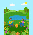 summer vacation couple on nature acoustic guitar vector image vector image