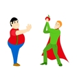 Superhero healthy eating athletic with an apple vector image