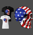 t-shirt skull painted with american flag vector image vector image