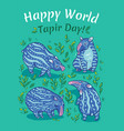 tapirs greeting card blue with light vector image