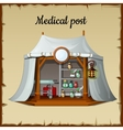 Tent medical facility on a beige background vector image vector image