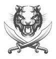 tiger face and arabian swords vector image