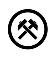 Two crossed hammers flat icon vector image