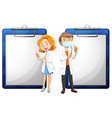 Two dentists and white papers vector image vector image
