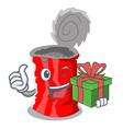 with gift set of metallic tin can cartoon vector image