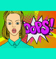 woman face in pop art style vector image vector image