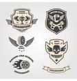 Grand prix racing motorclub emblems set isolated vector image