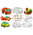 set of isolated cartoon transport with eyes part 1 vector image