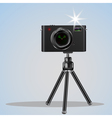Abstract digital photo camera on small tripod vector image