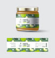 apple jam label and packaging jar with cap