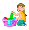 beautiful young woman is holding a basin vector image vector image