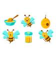 beekeeping set cute funny bee beehive jar of vector image vector image