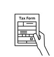 black hand holding thin line tax form vector image vector image
