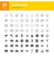 blogging line web glyph icons vector image