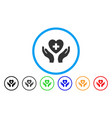 cardiology care hands rounded icon vector image vector image