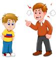 cartoon Father scolding his son vector image vector image