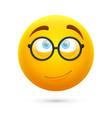 cartoon yellow 3d smiley face cute geek vector image vector image