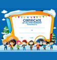 certificate template with children in winter vector image vector image
