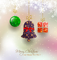 Christmas card with hanging bauble vector image