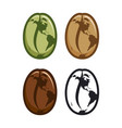 coffee beans icons with stylized world map vector image