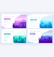 dedicated to undersea brochure cards set vector image vector image
