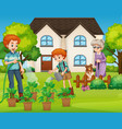 family in front house vector image