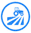 farm field with tractor rounded grainy icon vector image vector image