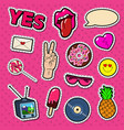 fashion stickers and badges with lips hands vector image vector image