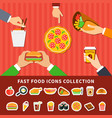 fast food icons hands flat banners vector image vector image