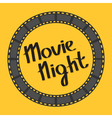 Film strip round circle frame Movie night text vector image