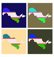 flag map of uzbekistan vector image vector image