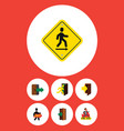 Flat icon exit set of direction pointer entry vector image