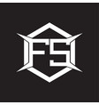 fs logo monogram with hexagon and four taper vector image vector image