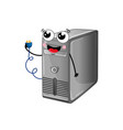 funny computer system unit cartoon character vector image vector image