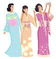 geisha in kimono japanese women shooting vector image vector image