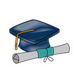 graduation cap and diploma rolled finish education vector image vector image