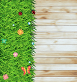 Green grass on wood texture background vector | Price: 1 Credit (USD $1)