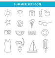 hand drawing summer icons and symbol set outline vector image