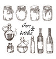 hand drawn jars and bottles in vector image