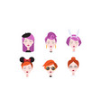 head beautiful girls with closed eyes set vector image vector image