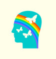 human head in profile with rainbow and butterflies vector image vector image