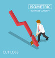 isometric business cut falling graph by axe vector image