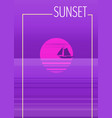 minimalist sunset in the sea ocean with a vector image vector image