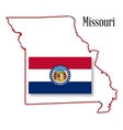 missouri state map and flag vector image vector image