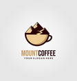 mountain coffee cup creative logo design vector image vector image