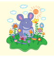 mouse with flowers vector image vector image
