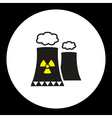nuclear power plant with chimney isolated black vector image