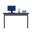 office desk computer plant folder organizer vector image