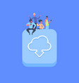 people group on synchronization cloud icon vector image vector image