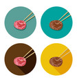 piece of meat is holding with chopsticks vector image vector image